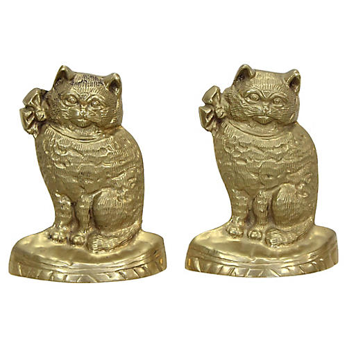 Brass Cat Bookends, Pair