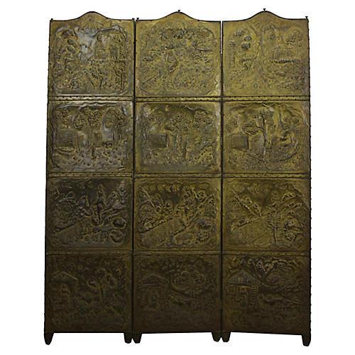 3-Panel Pressed Brass Room Screen