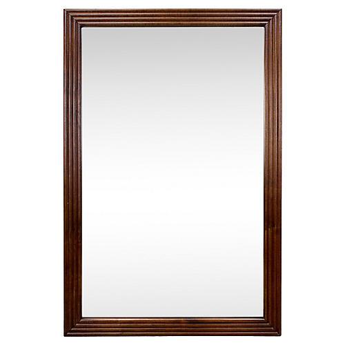 Mid-Century Reeded Walnut Mirror