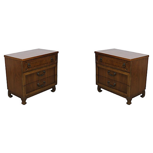 Mid-Century Walnut 3-Drawers Nightstands
