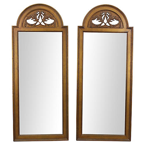 Arched Giltwood Mirrors, Pair