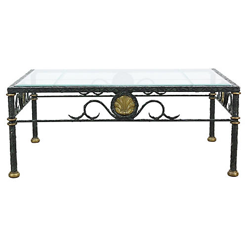 Midcentury Brass & Metal Coffee Table