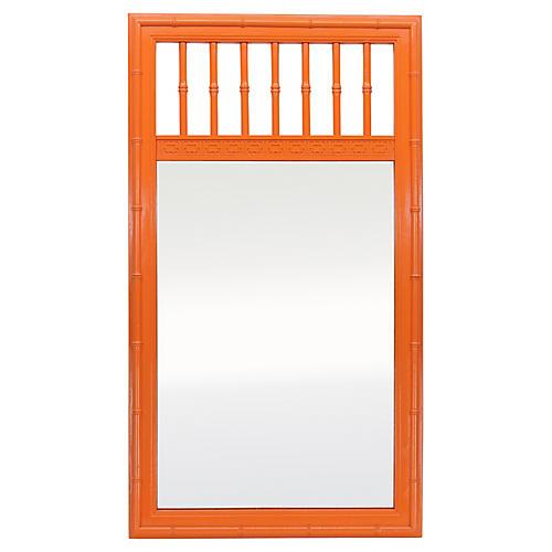 Orange Faux-Bamboo Mirror