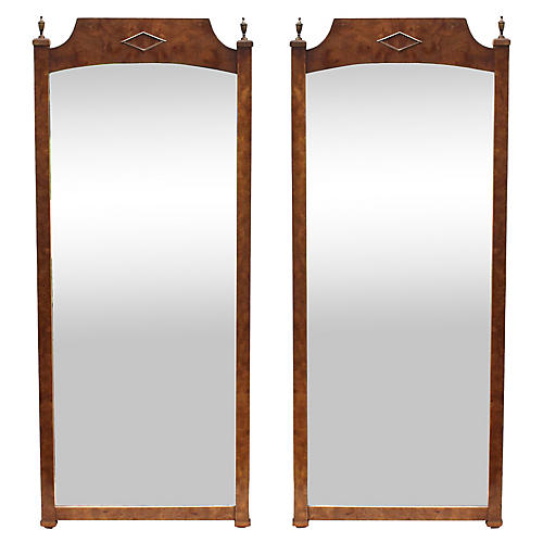 Midcentury Burl-Wood Mirrors, Pair