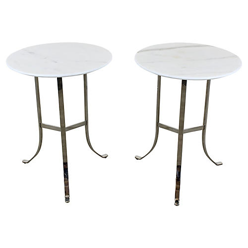 Chrome Side Tables With Marble Tops