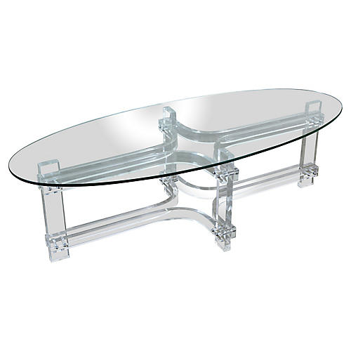 Oval Lucite Coffee Table With Glass Top