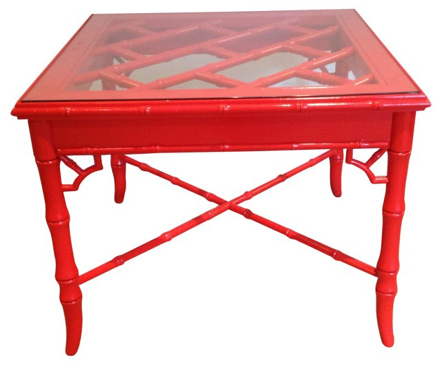 Red Faux-Bamboo Side  Table