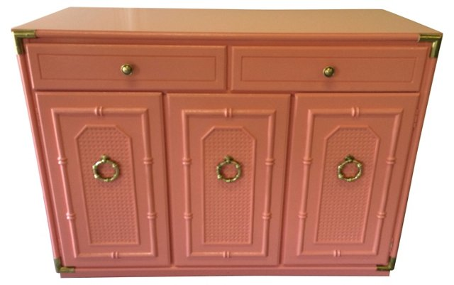 Coral  Faux-Bamboo Bar  Chest