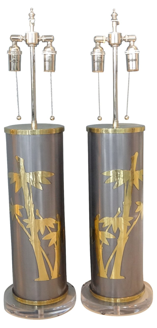 Pewter & Brass Bamboo Lamps, Pair