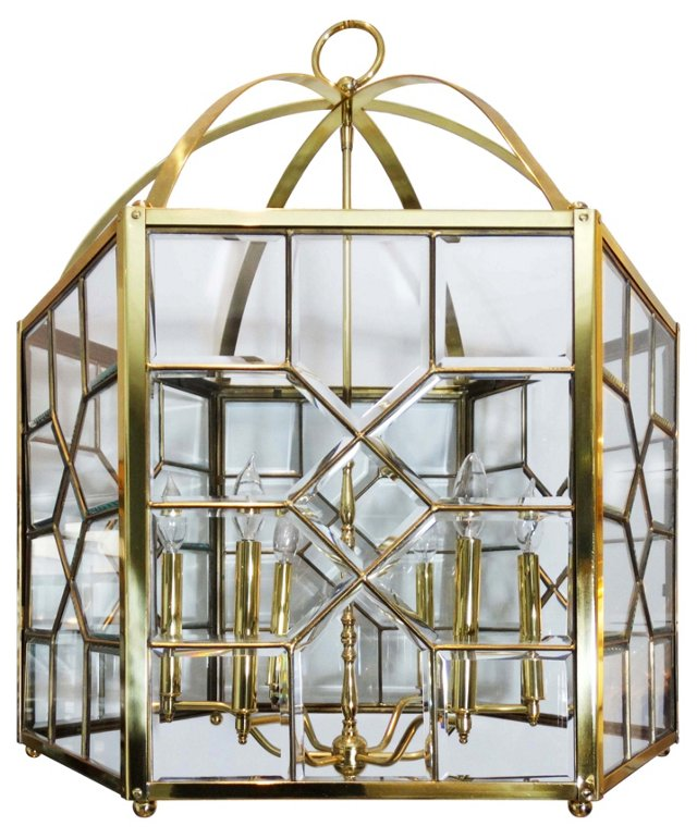 Oversize Hexagonal Brass Chandelier