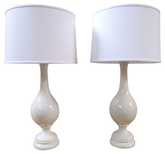White Porcelain Lamp Bases, Pair
