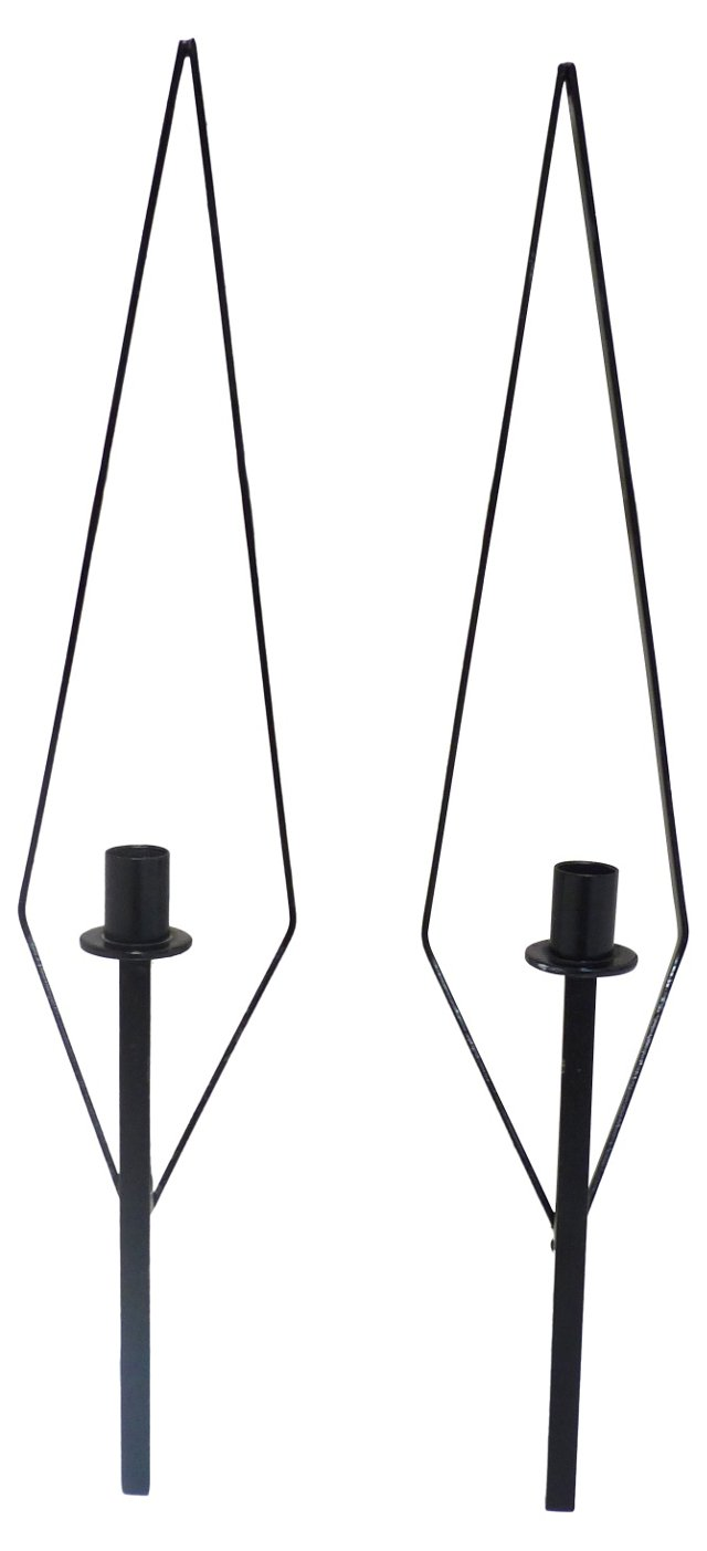Iron Candle Sconces, Pair
