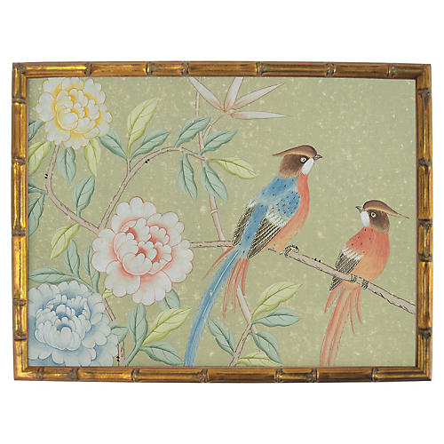 Love Birds on Distressed Tea Paper