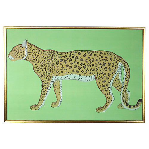 Hand Painted Leopard on Silk