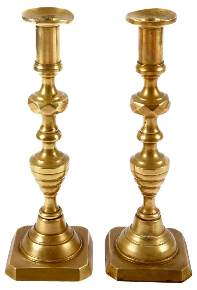 Antique Brass      Candlesticks, Pair