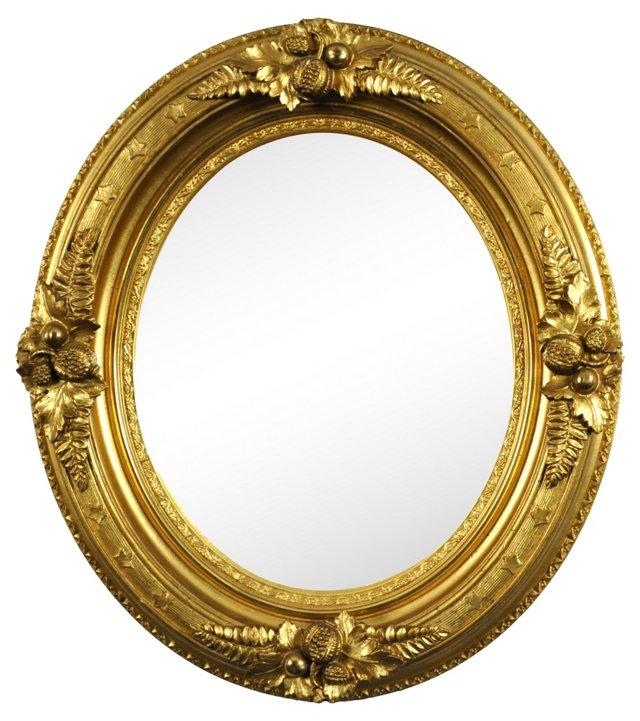 19th-C. Oval Mirror