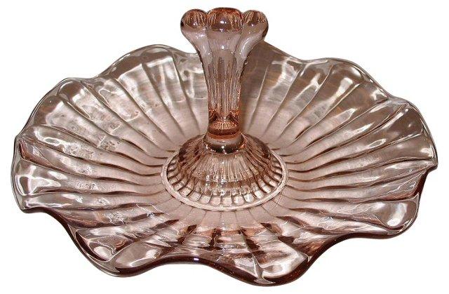 Pink Depression Glass Handled Dish
