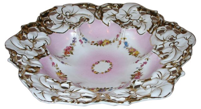 Hand-Painted Cutwork Bowl