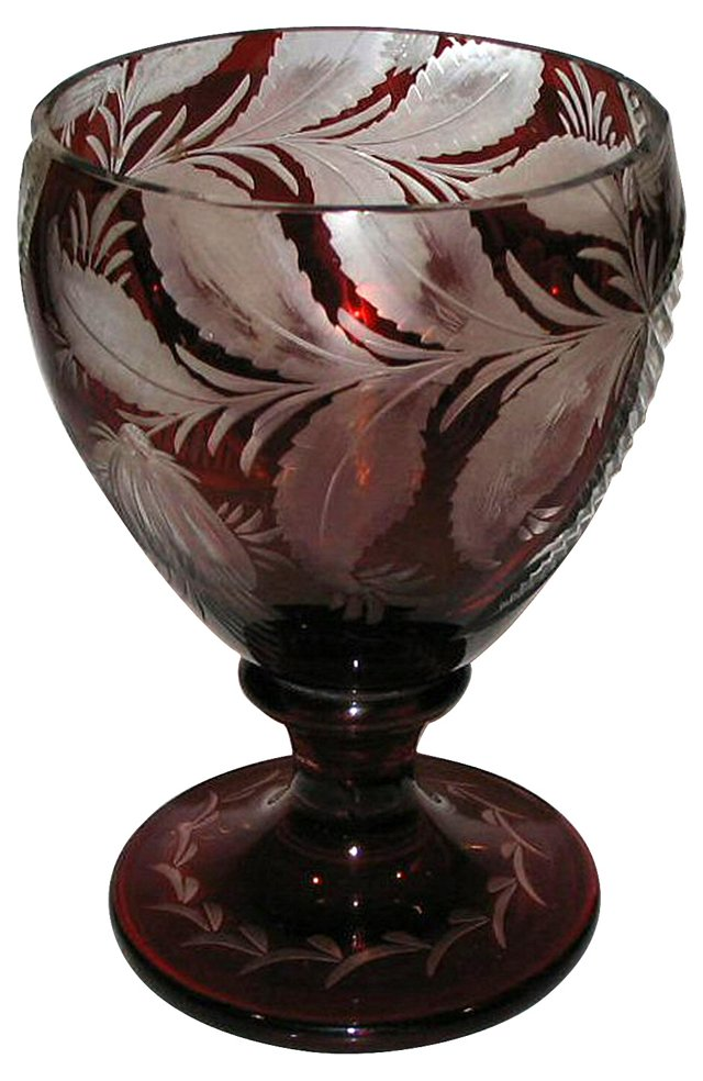 Bohemian Footed Glass Compote