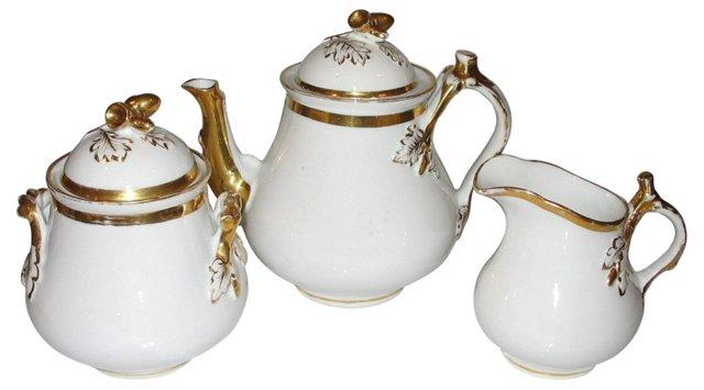 Tea Service w/ Gold Trim, 3 Pcs