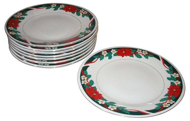 Poinsettia Dinner  Plates, Set of 8