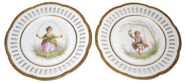 Hand-Painted French Plates, Pair