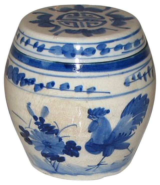 Blue & White Ginger Pot w/ Rooster