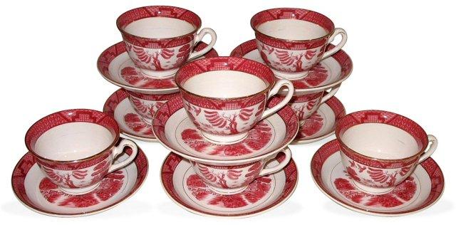Double-Phoenix Cups & Saucers, S/8