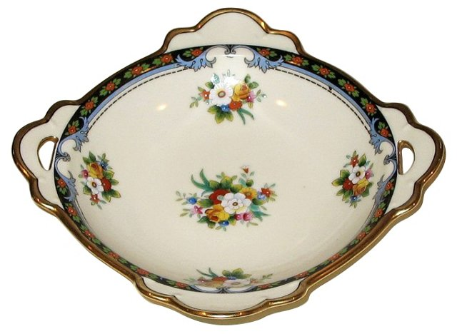 Hand-Painted Handled Bowl