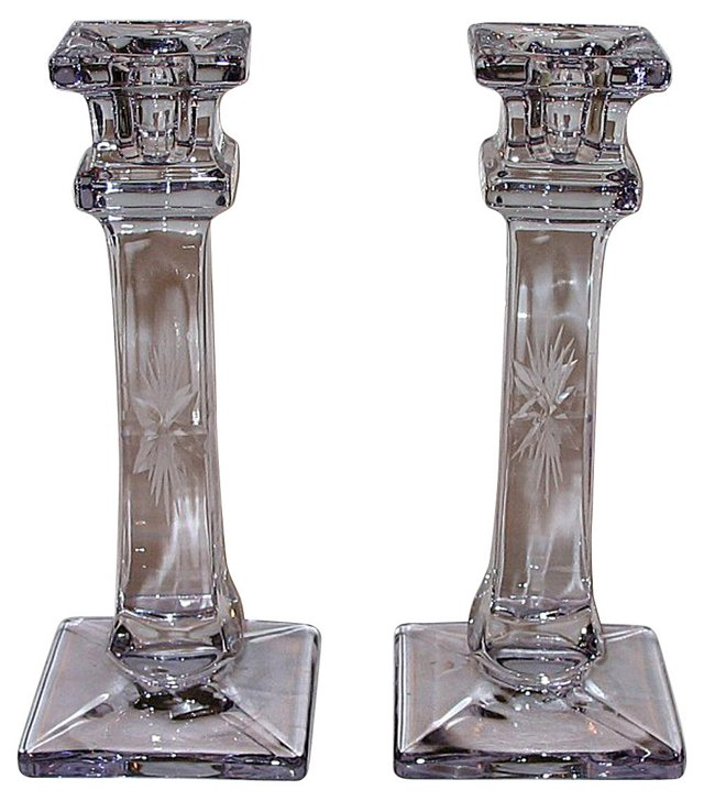Purple Glass Candleholders, Pair