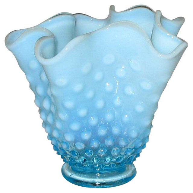 Free-Form Hobnail Glass Vase