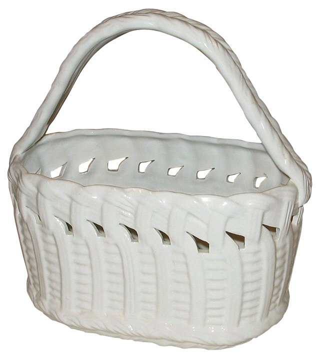 Italian Glazed Oval Flower Basket