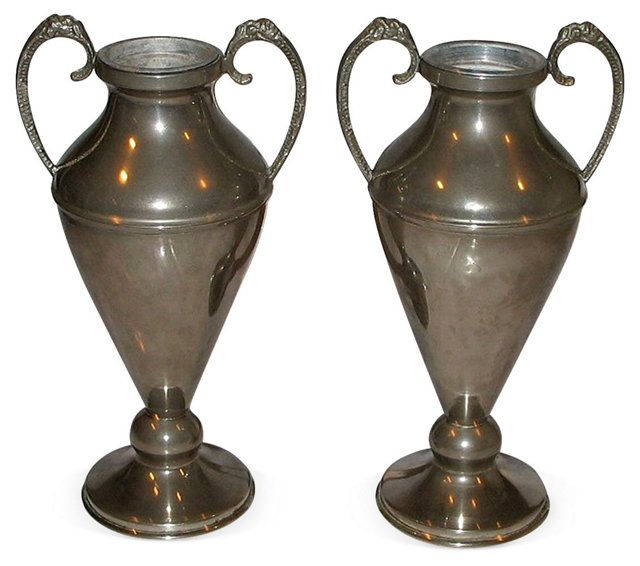 Pewter Flower Urns, Pair
