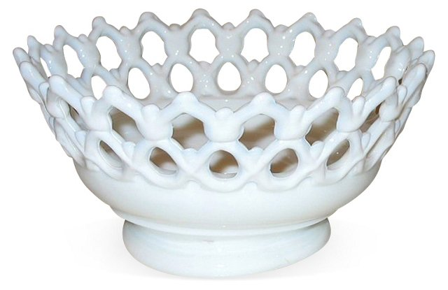 Round Milk Glass Bowl w/ Open Border