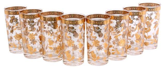 Culver Flower Motif Glasses, S/8