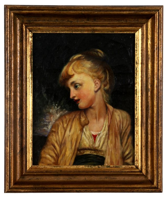 19th-C. Portrait of a Young Girl
