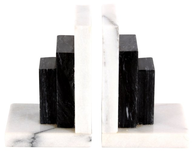 Gray & Black Marble Bookends