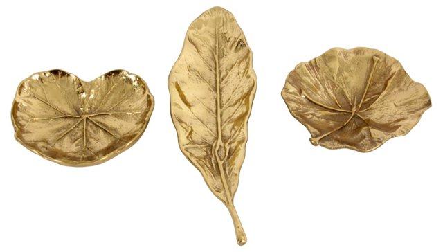 Brass Leaf Bowls, S/3