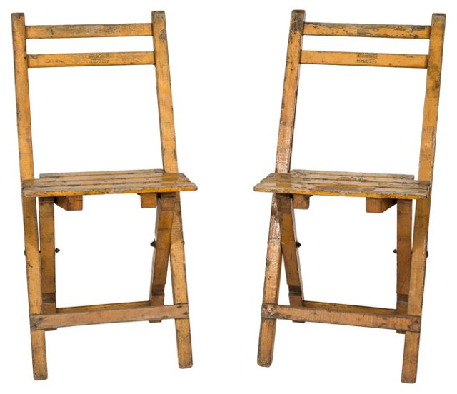 1930s French Oak Chairs, Pair
