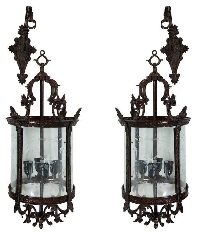 1930s Italian Lantern Sconces, Pair
