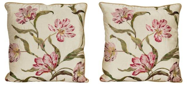 Manuel Canovas Silk Pillows, Pair