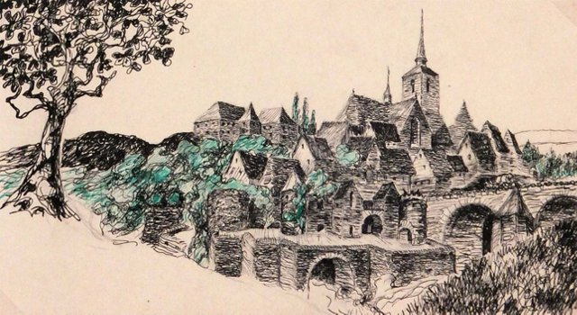 Drawing of Village, 1919 -MISSING