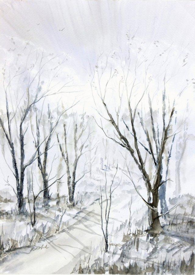Winter Woods Watercolor