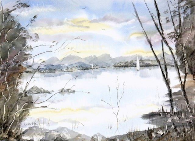 English Lake Watercolor