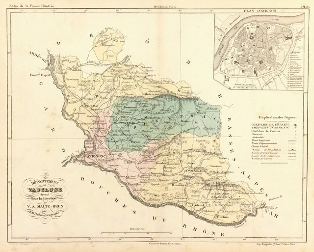 Map of Provence France, C. 1860