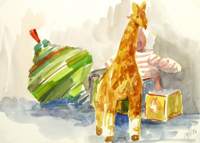 Giraffe and Spinning Top