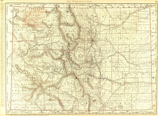 Colorado Counties & Railroads, 1895