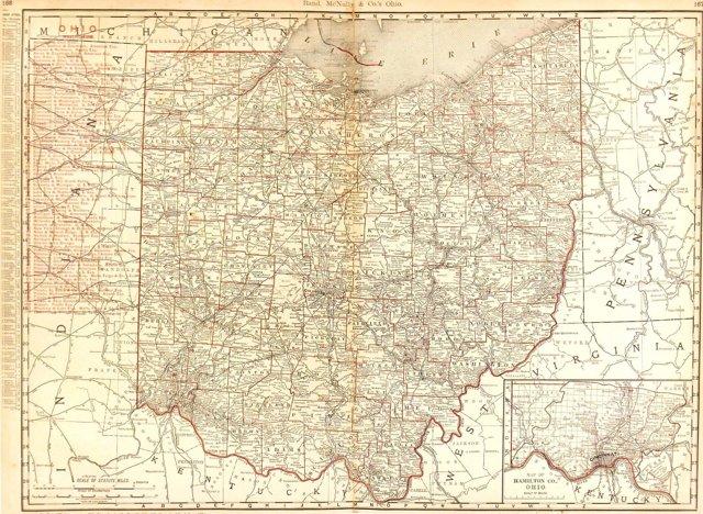Ohio Counties & Railroads, 1895