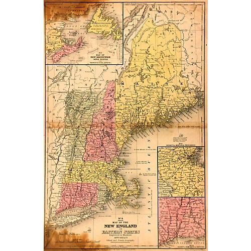 New England Map, 1844