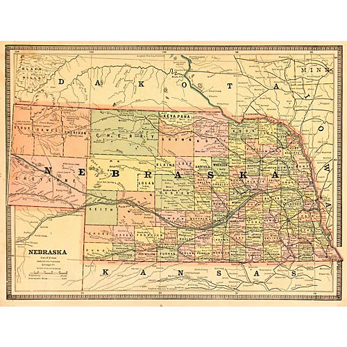Map of Nebraska, 1890